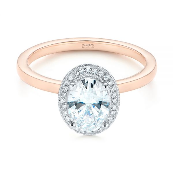 18K Rose Gold & Platinum Two-Tone Diamond Petite Halo Engagement Ring - Flat View -  105023 - Thumbnail