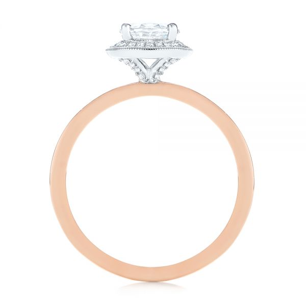 18K Rose Gold & Platinum Two-Tone Diamond Petite Halo Engagement Ring - Front View -  105023 - Thumbnail