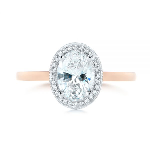 18K Rose Gold & Platinum Two-Tone Diamond Petite Halo Engagement Ring - Top View -  105023 - Thumbnail