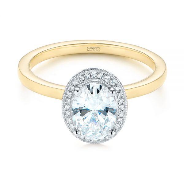 18K Yellow Gold & 14K Two-Tone Diamond Petite Halo Engagement Ring - Flat View -  105023 - Thumbnail