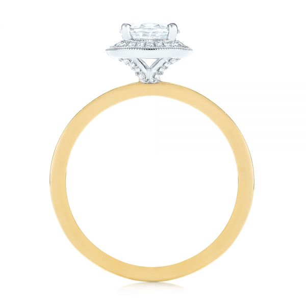 18K Yellow Gold & 14K Two-Tone Diamond Petite Halo Engagement Ring - Front View -  105023 - Thumbnail