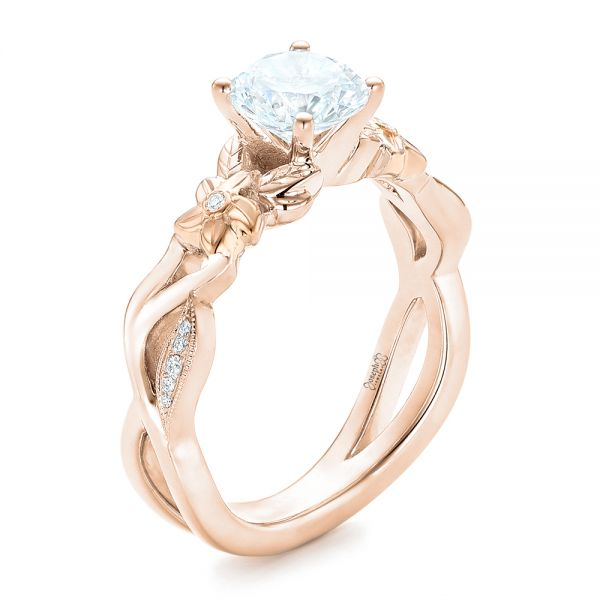 14k Rose Gold And Platinum Two Tone Flower And Leaf Diamond Engagement Ring