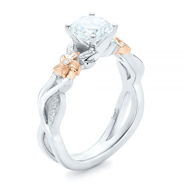 Two-Tone Flower and Leaf Diamond Engagement Ring