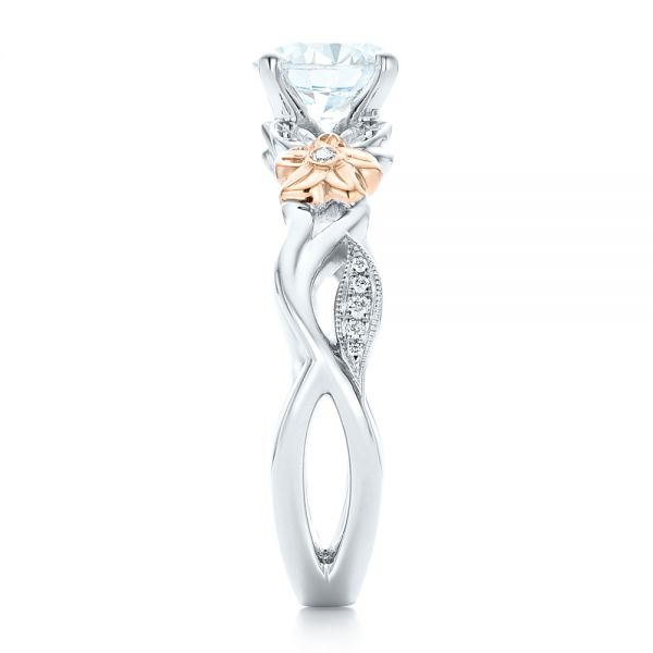 Two-Tone Flower and Leaf Diamond Engagement Ring - Side View -  102554 - Thumbnail