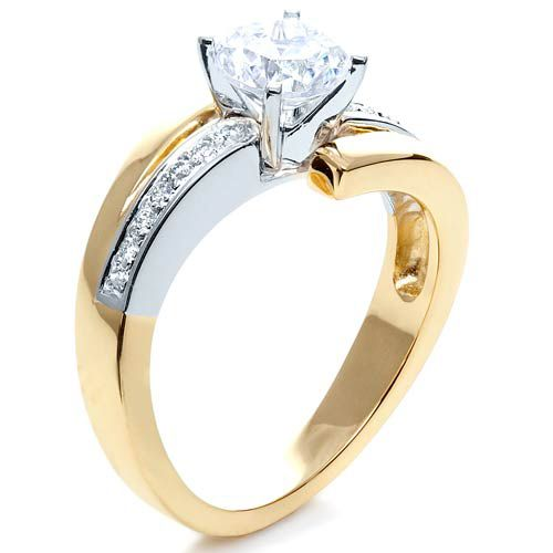 Two-Tone Gold Diamond Engagement Ring - Three-Quarter View -  216 - Thumbnail