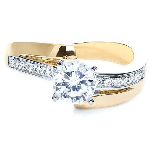 Two-Tone Gold Diamond Engagement Ring - Flat View -  216 - Thumbnail