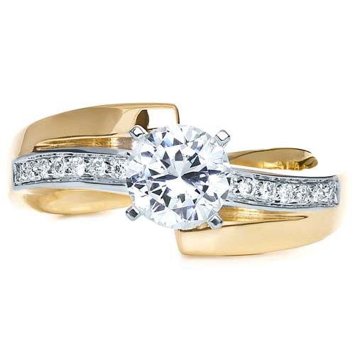 Two-Tone Gold Diamond Engagement Ring - Top View -  216 - Thumbnail