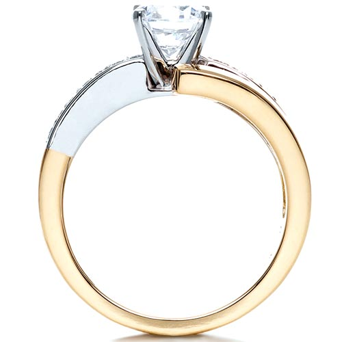 Two-Tone Gold Diamond Engagement Ring - Finger Through View