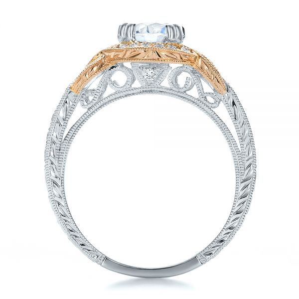 Two-tone Diamond And Hand Engraved Engagement Ring - Kirk Kara - Front View -
