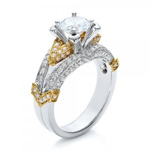 Two-Tone Gold and Diamond Engagement Ring - Vanna K