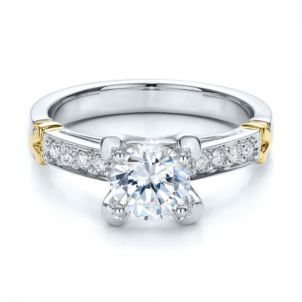 Two-Tone Gold and Diamond Engagement Ring - Vanna K - Laying View