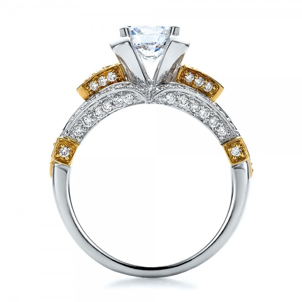 Two-Tone Gold and Diamond Engagement Ring - Vanna K - Finger Through View