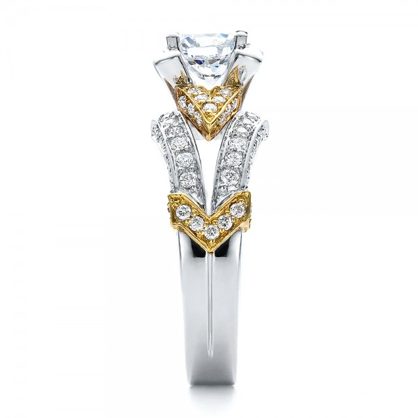 Two-Tone Gold and Diamond Engagement Ring - Vanna K - Side View