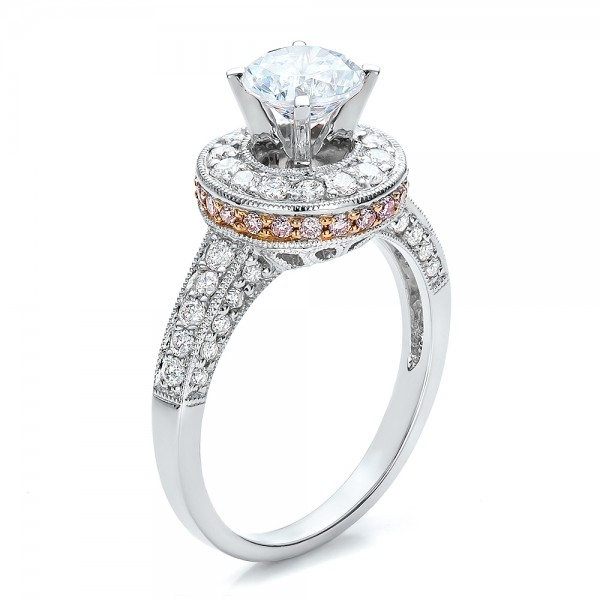 Two-Tone Gold and Diamond Halo with Pink Diamonds Engagement Ring - Vanna K