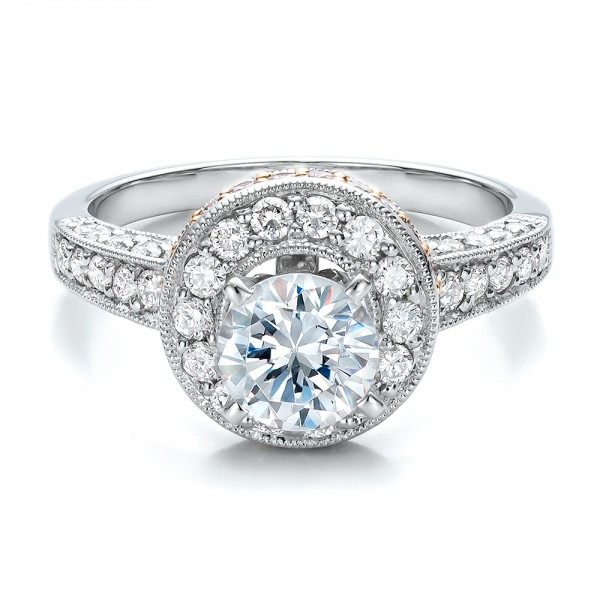 Two-Tone Gold and Diamond Halo with Pink Diamonds Engagement Ring - Vanna K - Laying View