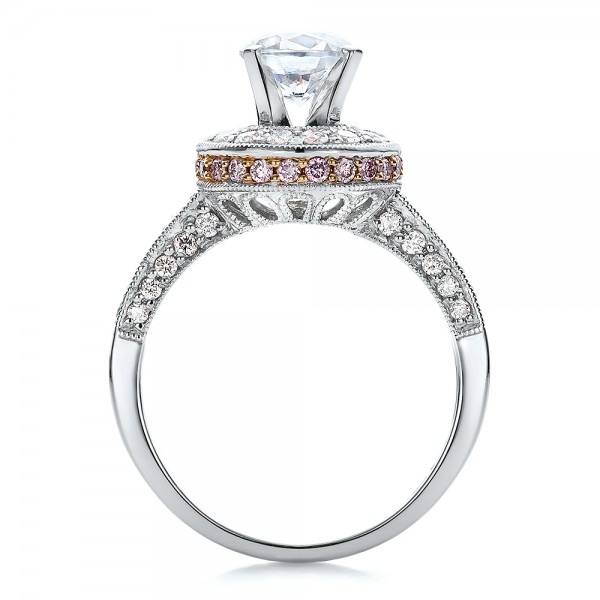Two-Tone Gold and Diamond Halo with Pink Diamonds Engagement Ring - Vanna K - Finger Through View
