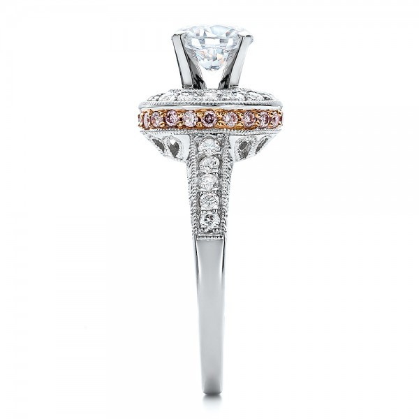 Two-Tone Gold and Diamond Halo with Pink Diamonds Engagement Ring - Vanna K - Side View