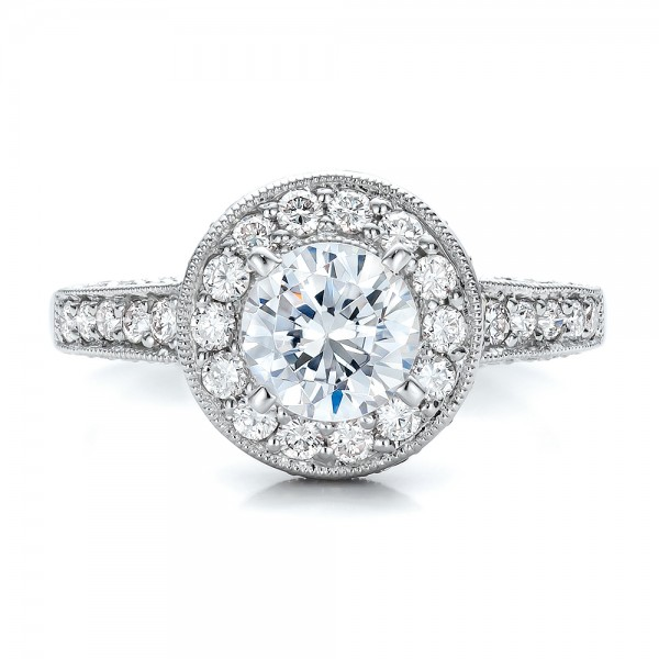 Two-Tone Gold and Diamond Halo with Pink Diamonds Engagement Ring - Vanna K - Top View