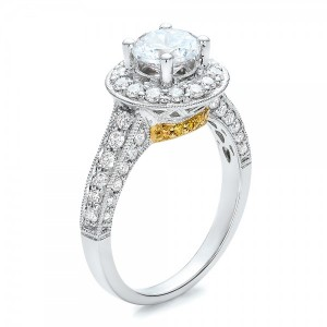 Two-Tone Gold and White and Yellow Diamond Engagement Ring - Vanna K