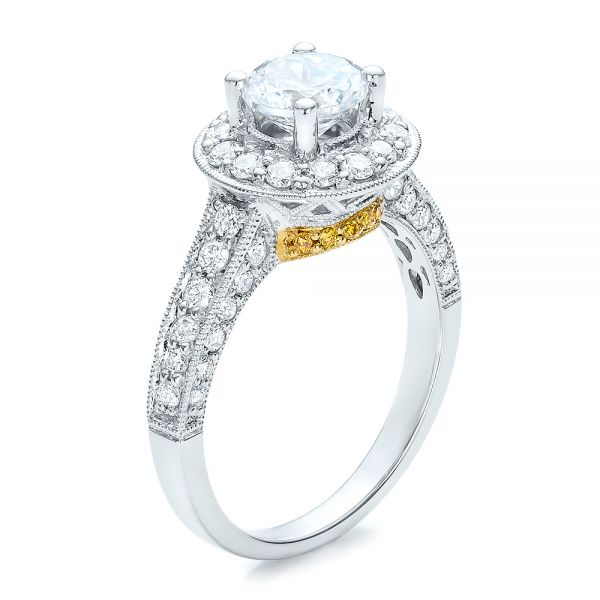 18k White Gold And 18K Gold Two-tone White And Yellow Diamond Engagement Ring - Vanna K - Three-Quarter View -