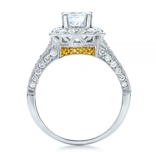 18k White Gold And 18K Gold Two-tone White And Yellow Diamond Engagement Ring - Vanna K - Front View -