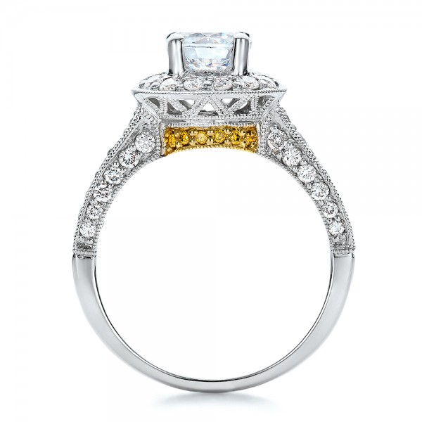 two tone gold and white and yellow engagement ring