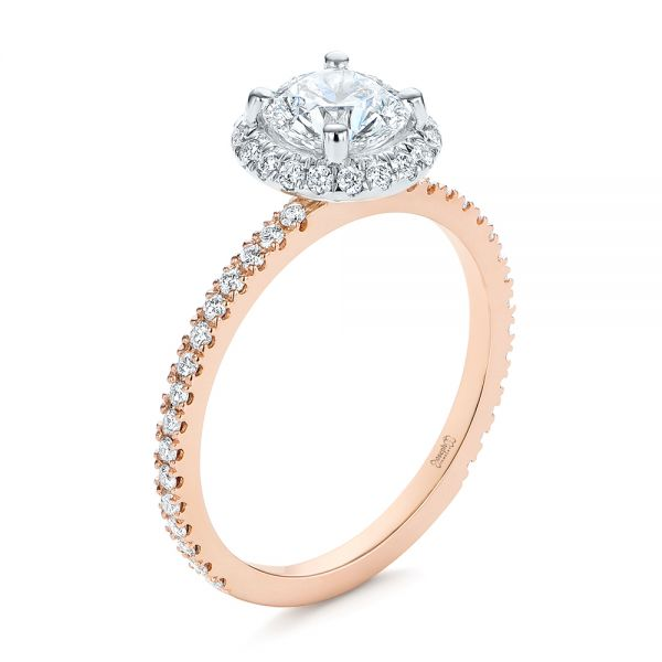 Two-Tone Halo Diamond Engagement Ring - Image
