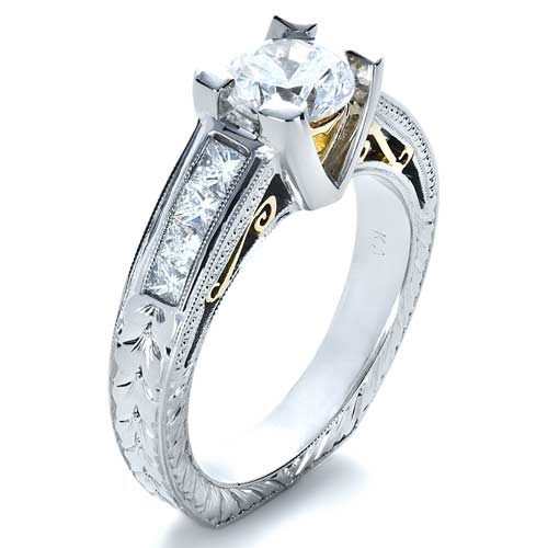 Two-Tone Hand Engraved Diamond Engagement Ring