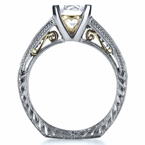 Two-Tone Hand Engraved Diamond Engagement Ring - Finger Through View