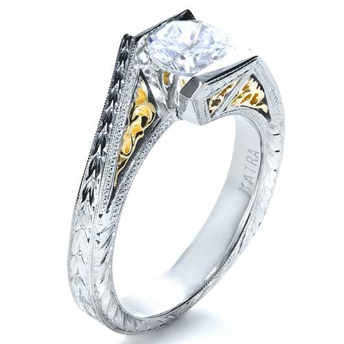 Two-Tone Hand Engraved Engagement Ring