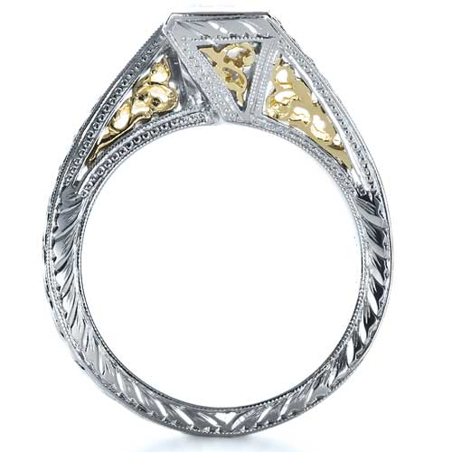 Two-Tone Hand Engraved Engagement Ring - Finger Through View