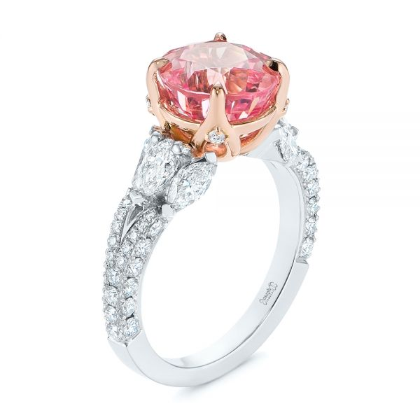 Two-Tone Padparadscha Sapphire and Diamond Engagement Ring