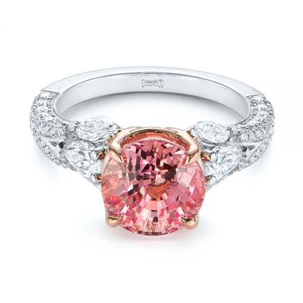 Two-Tone Padparadscha Sapphire and Diamond Engagement Ring - Flat View -  104861 - Thumbnail