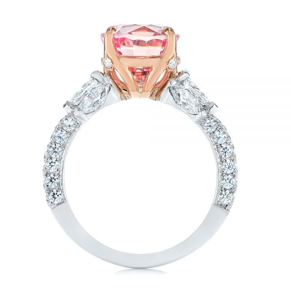 Two-Tone Padparadscha Sapphire and Diamond Engagement Ring - Front View -  104861 - Thumbnail