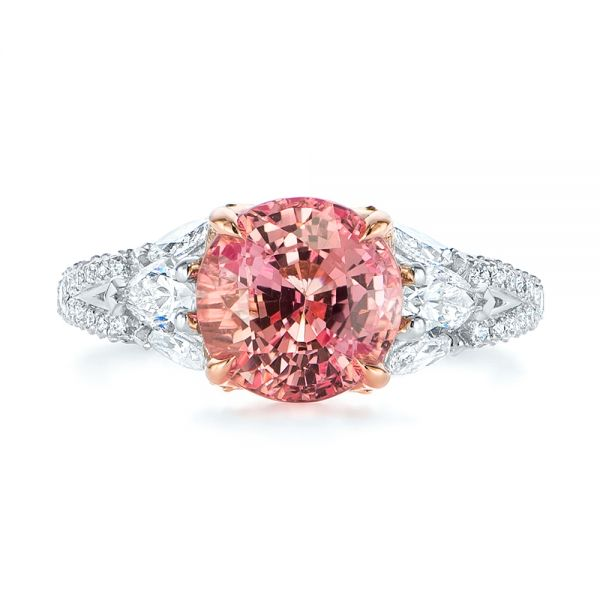 Two-Tone Padparadscha Sapphire and Diamond Engagement Ring - Top View -  104861 - Thumbnail