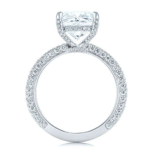 18k White Gold And Platinum Two-tone Pave Cushion Cut