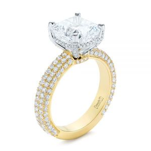 Two-Tone Pave Cushion Cut Diamond Engagement Ring - Image