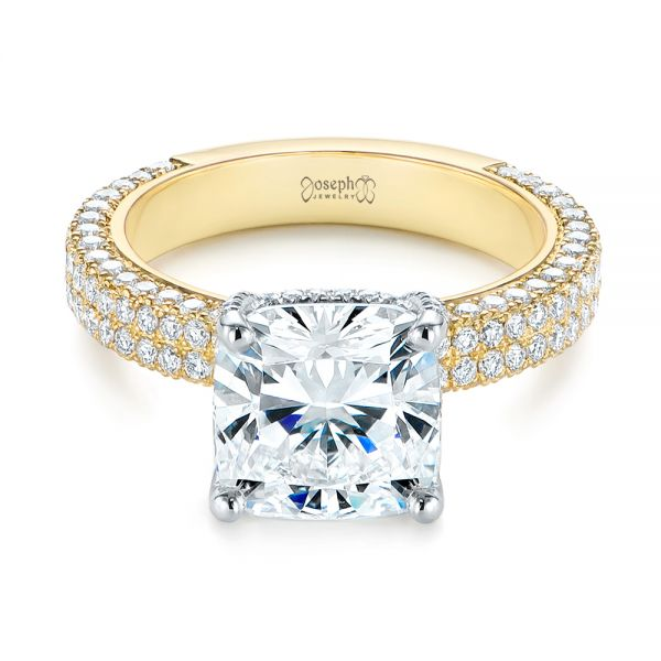 Two-Tone Pave Cushion Cut Diamond Engagement Ring