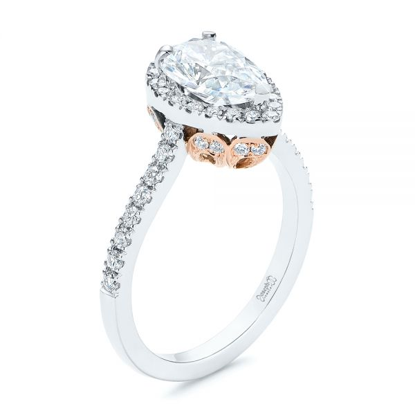 Two-Tone Pear Diamond Halo Engagement Ring