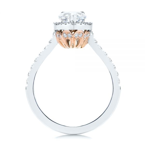 18K Gold And 14k Rose Gold Two-tone Pear Diamond Halo Engagement Ring - Front View -  105215 - Thumbnail