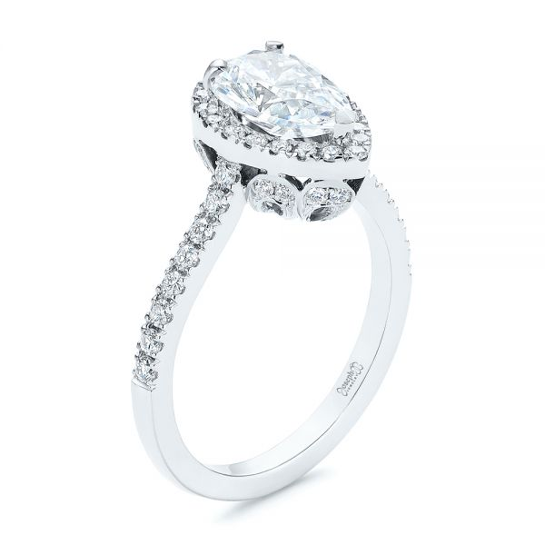 Two-Tone Pear Diamond Halo Engagement Ring - Image
