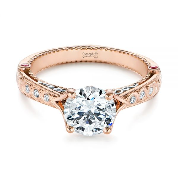 14k Rose Gold And Platinum Two-tone Ruby And Diamond Vintage-inspired Engagement Ring - Flat View -  105312 - Thumbnail