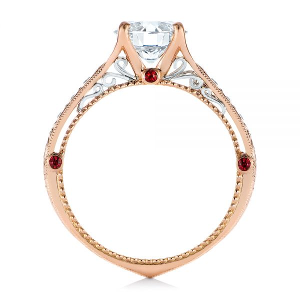 14k Rose Gold And Platinum Two-tone Ruby And Diamond Vintage-inspired Engagement Ring - Front View -  105312 - Thumbnail