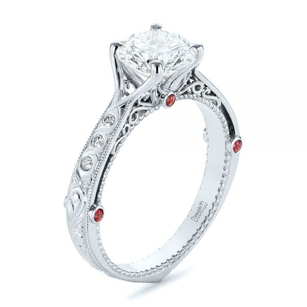 Two-Tone Ruby and Diamond Vintage-Inspired Engagement Ring - Image