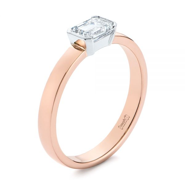 14k Rose Gold And Platinum Two-tone Semi-bezel Solitaire Diamond Engagement - Three-Quarter View -