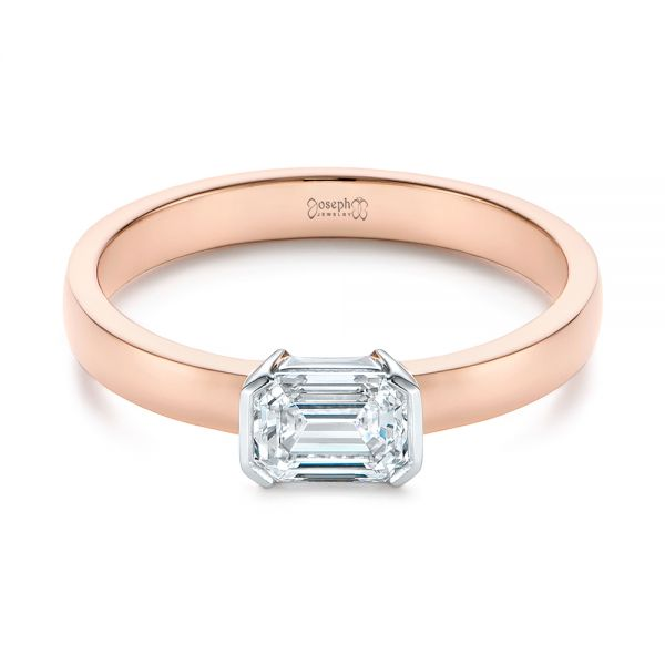 14k Rose Gold And Platinum Two-tone Semi-bezel Solitaire Diamond Engagement - Flat View -  105745 - Thumbnail