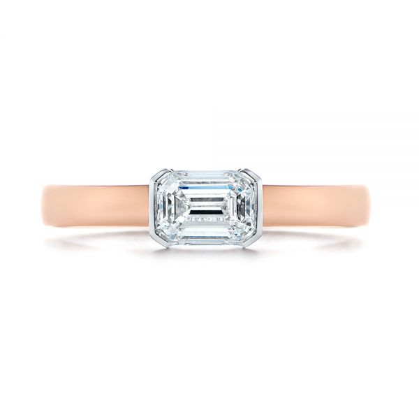 14k Rose Gold And Platinum Two-tone Semi-bezel Solitaire Diamond Engagement - Top View -  105745 - Thumbnail