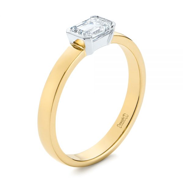 Two-Tone Semi-Bezel Solitaire Diamond Engagement - Image