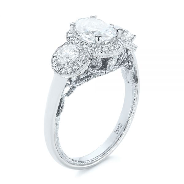 Two-Tone Three Stone Diamond Halo Engagement Ring - Image