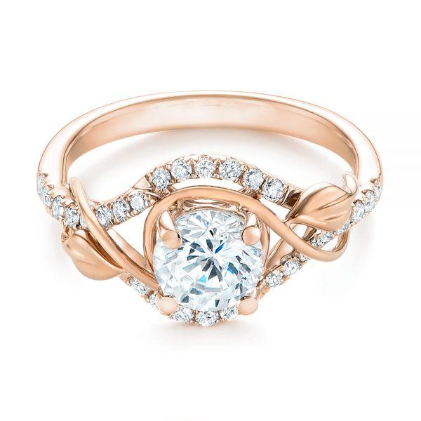 14k Rose Gold And 18K Gold 14k Rose Gold And 18K Gold Two-tone Wrap Diamond Engagement Ring - Flat View -